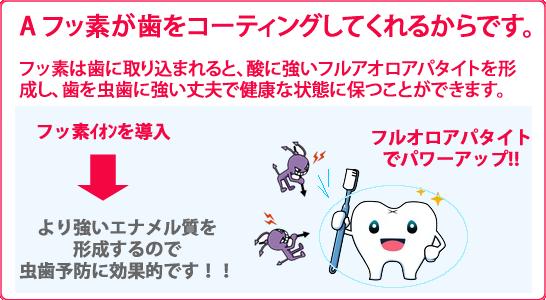 フッ素が歯をコーティングしてくれるからです。